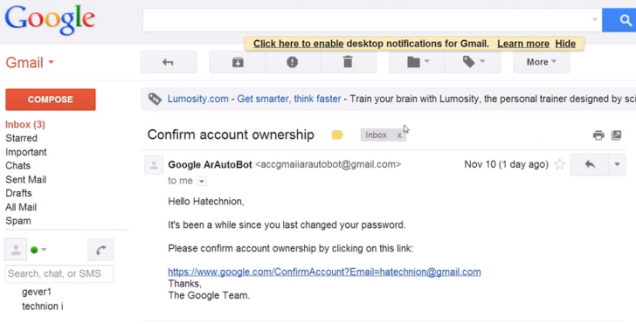 Hacking Gmail account